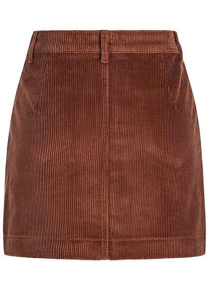 ONLY Damen NOOS Cord Rock 2-Pockets Knopfleiste coffee bean braun