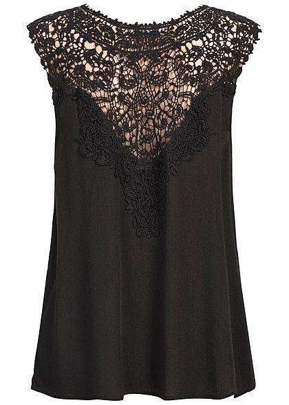 Seventyseven Lifestyle Damen Crochet Blouse Top schwarz