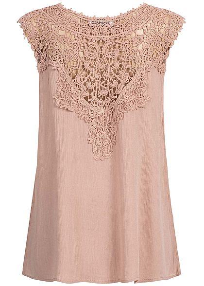 Seventyseven Lifestyle Damen Crochet Blouse Top rosa