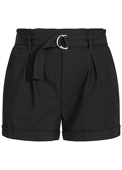 Seventyseven Lifestyle Damen Belted Paper-Bag Shorts 2-Pockets schwarz