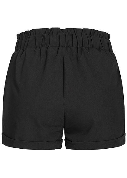 Seventyseven Lifestyle Damen Belted Paper-Bag Shorts 2-Pockets schwarz