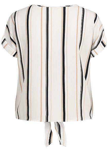 Seventyseven Lifestyle Damen Striped Blouse Shirt Tie-Knot off weiss schwarz