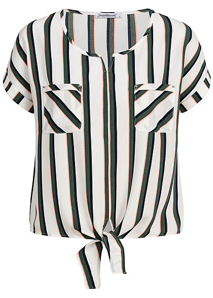 Seventyseven Lifestyle Damen Striped Blouse Shirt Tie-Knot off weiss schwarz