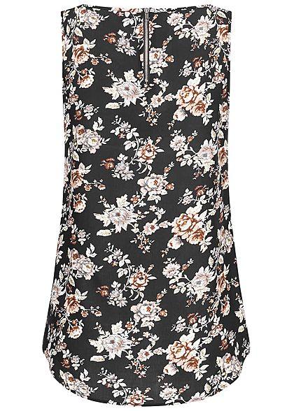 Seventyseven Lifestyle Damen Blouse Top Flower Print schwarz beige