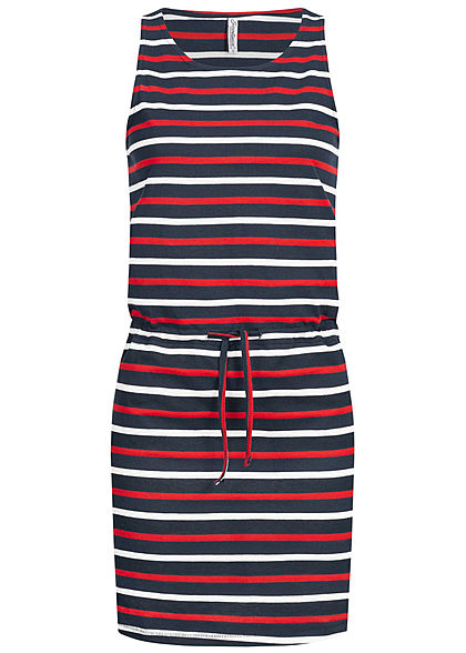 Seventyseven Lifestyle Damen Mini Dress Stripes with drawstring navy blau