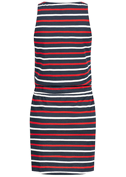 Seventyseven Lifestyle Damen Mini Dress Stripes with drawstring navy blau
