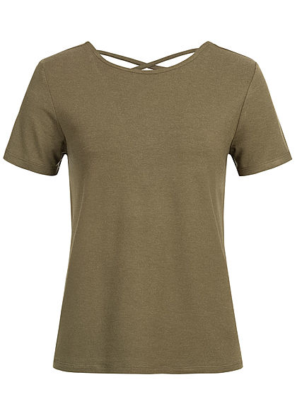 ONLY Damen Criss Cross Backside T-Shirt beech pattern olive grün