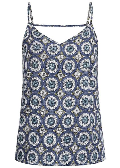 ONLY Damen Adjustable Strap V-Neck Top Mandala Print blau cloud dancer weiss