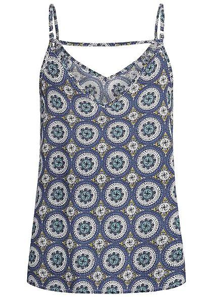 ONLY Damen Adjustable Strap V-Neck Top Mandala Print blau cloud dancer weiss