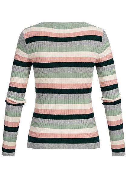 Vero Moda Damen Multicolor Striped Rib Sweater ponderosa pine multicolor