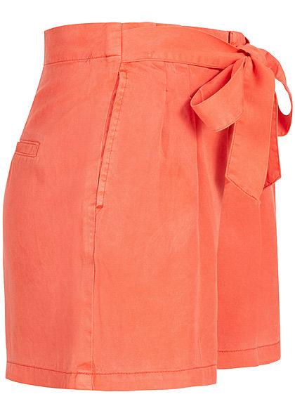 Vero Moda Damen Belted Loose Summer Denim Shorts 2-Pockets emberglow orange