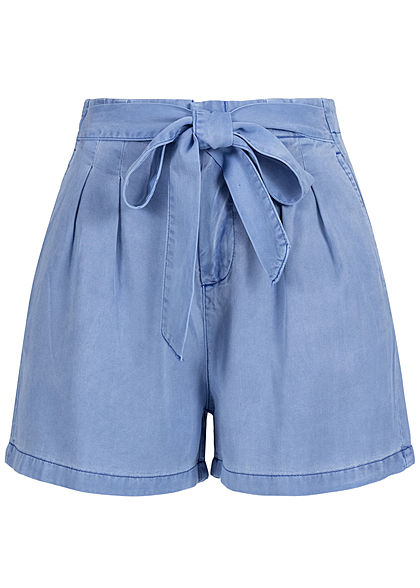 Vero Moda Damen Belted Loose Summer Denim Shorts 2-Pockets granada sky blau