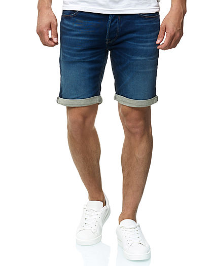 Jack and Jones Herren Denim Bermuda Jeans Shorts 5-Pockets dunkel blau denim
