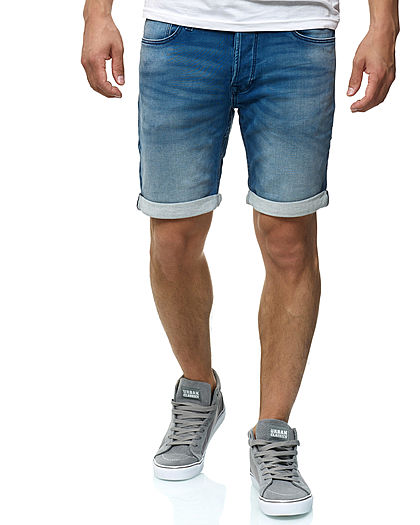 Jack and Jones Herren Denim Bermuda Jeans Shorts 5-Pockets hell blau denim
