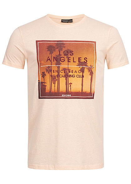 Eight2Nine Herren Summer Printed T-Shirt pastel orange