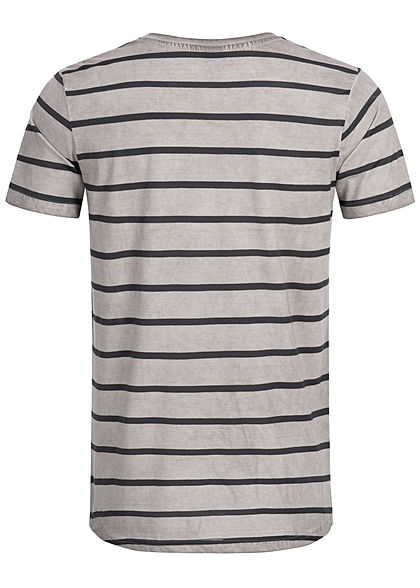 Eight2Nine Herren Striped Special Color Effect T-Shirt by Urban Surface hell grau