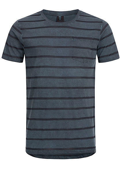 Eight2Nine Herren Striped Special Color Effect T-Shirt by Urban Surface navy blau