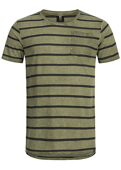 Eight2Nine Herren Striped Special Color Effect T-Shirt by Urban Surface olive grün
