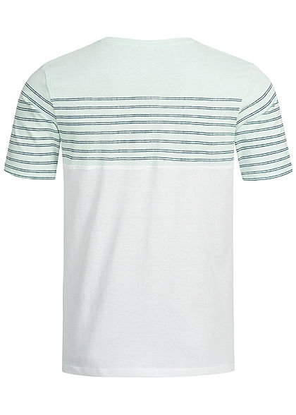 Eight2Nine Herren Striped 3-Tone T-Shirt Breast Pocket by Sublevel weiss blau