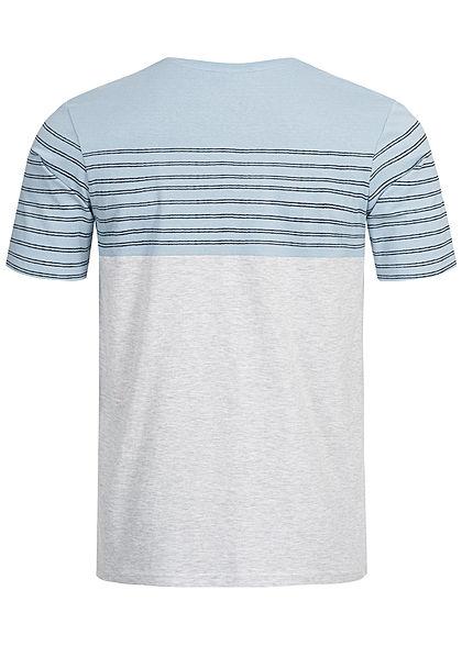 Eight2Nine Herren Striped 3-Tone T-Shirt Breast Pocket by Sublevel hell grau blau