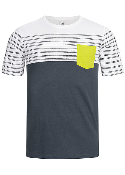 Eight2Nine Herren Striped 3-Tone T-Shirt Breast Pocket by Sublevel dunkel navy blau