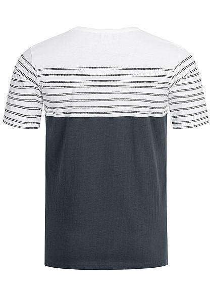 Eight2Nine Herren Striped 3-Tone T-Shirt Breast Pocket by Sublevel dunkel navy blau