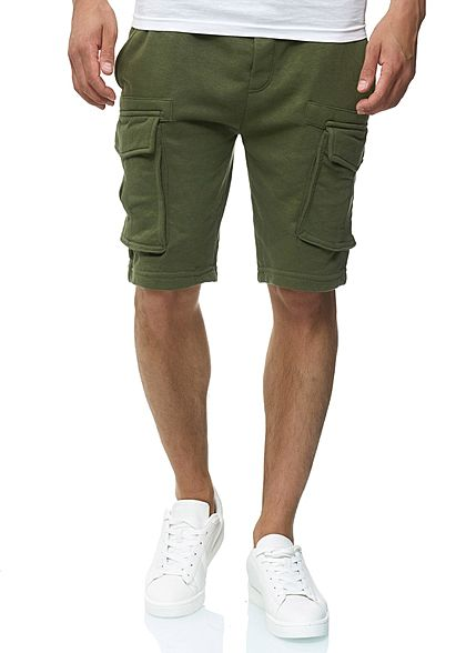 Eight2Nine Herren Cargo Sweat Shorts 4-Pockets by Urban Surface ivy olive grün