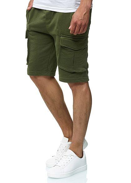 Eight2Nine Herren Cargo Sweat Shorts 4-Pockets by Urban Surface ivy olive grün