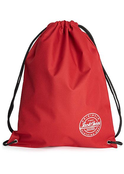 Jack and Jones Herren Draw String Bag Logo Print tango rot