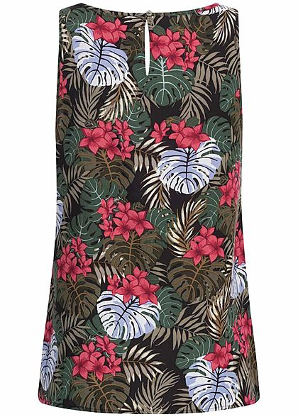 ONLY Damen Blouse Top Tropical Print schwarz multicolor
