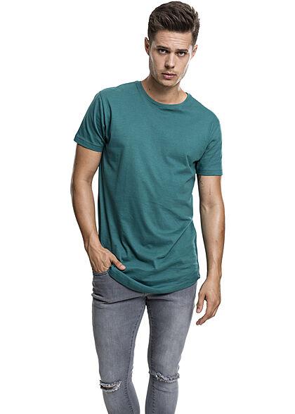 Urban Classics Herren Basic Shaped Long T-Shirt teal dunkel blau