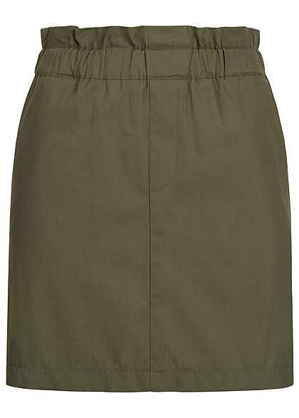 ONLY Damen Short Paperbag Skirt 2-Pockets kalamata olive grün