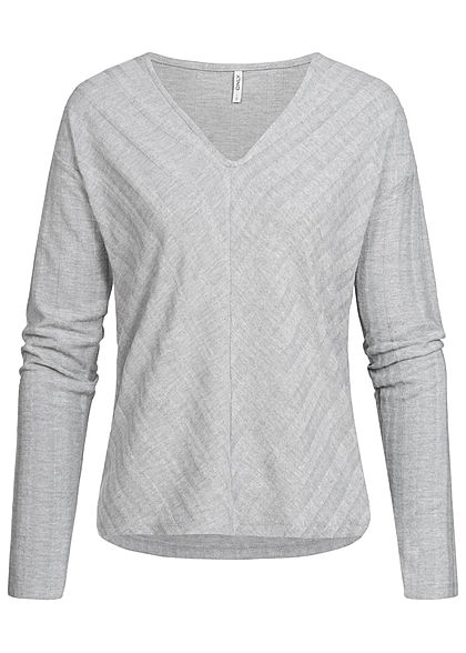 ONLY Damen V-Neck Sweater hell grau melange
