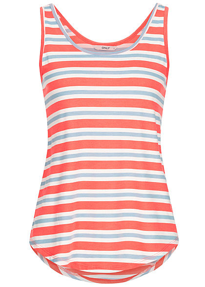 ONLY Damen Striped Tank Top cloud dancer weiss blau pink