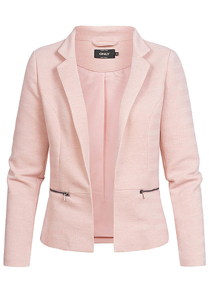 newest ec898 bad01 ONLY Damen Short Tailored Zip Blazer Jacket adobe rosa