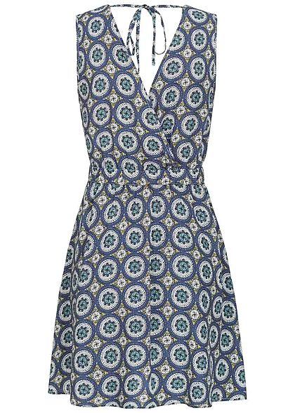ONLY Damen Deep V-Neck Mini Neckholder Dress Mandala Print blau weiss