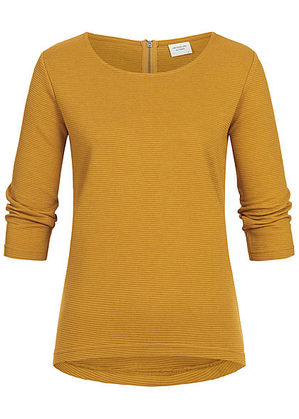 JDY by ONLY 3/4 Sleeve Ribbed Zip Shirt NOOS harvest gold