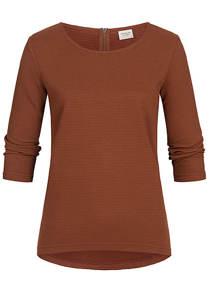 JDY by ONLY 3/4 Sleeve Ribbed Zip Shirt NOOS smoked paprika braun