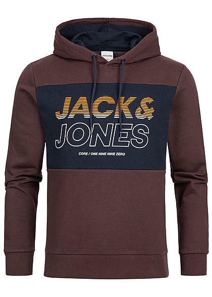 Jack and Jones Herren 2-Tone Sweat Hoodie Logo Print fudge bordeaux schwarz