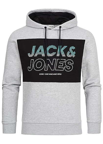 großer Lagerverkauf Brauch Modestil Jack and Jones Herren 2-Tone Sweat Hoodie Logo Print hell grau melange  schwarz