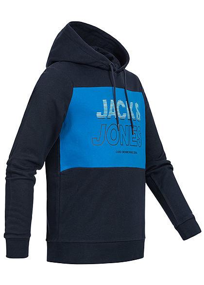 Jack and Jones Herren 2-Tone Sweat Hoodie Logo Print sky captain blau