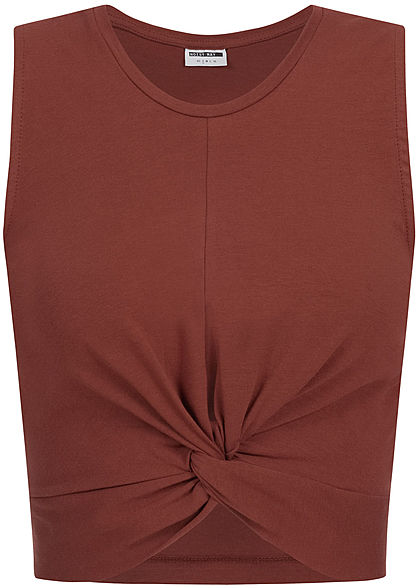 Noisy May Damen Twist Front Cropped Top madder braun