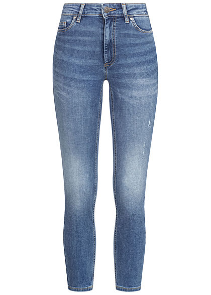 ONLY Damen Ankle Skinny Jeans 5-Pockets Crash Look medium blau denim
