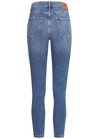ONLY Damen Ankle Skinny Jeans 5-Pockets Crash Look medium blau denim