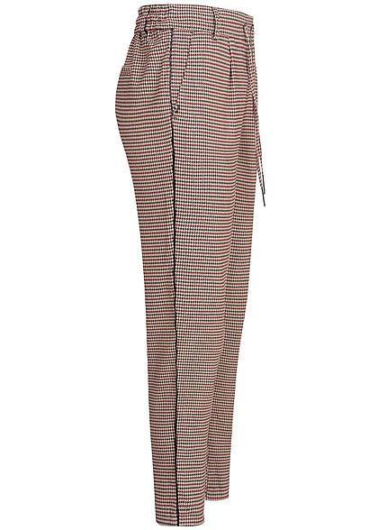 ONLY Damen Poptrash Pants 2-Pockets Houndstooth Print schwarz tawny port rot