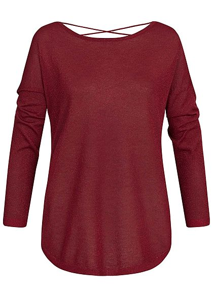 ONLY Damen Glitter Knit Pullover Backside Strings merlot bordeaux rot