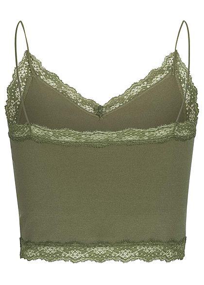 ONLY Damen Lace Cropped Strap Top kalamata olive grün