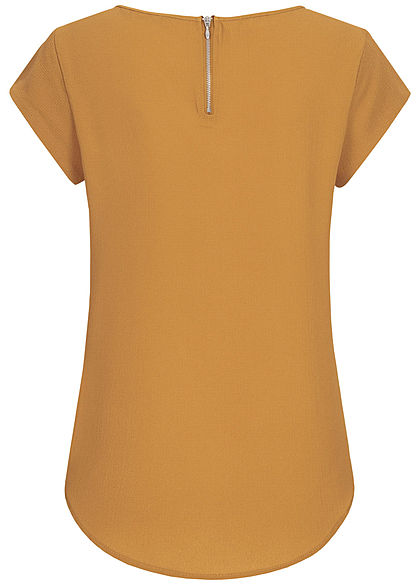 ONLY Damen NOOS Solid Blusen Shirt Struktur Muster Zipper hinten cathay spice braun