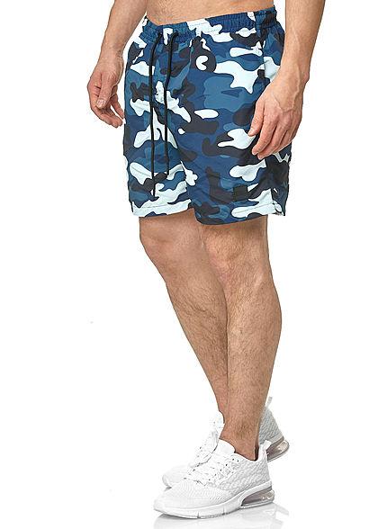 Urban Classics Herren Camo Swim Shorts 2-Pockets Tunnelzug blau camouflage