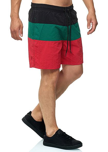 Urban Classics Herren Colorblock Swim Shorts grün rot schwarz